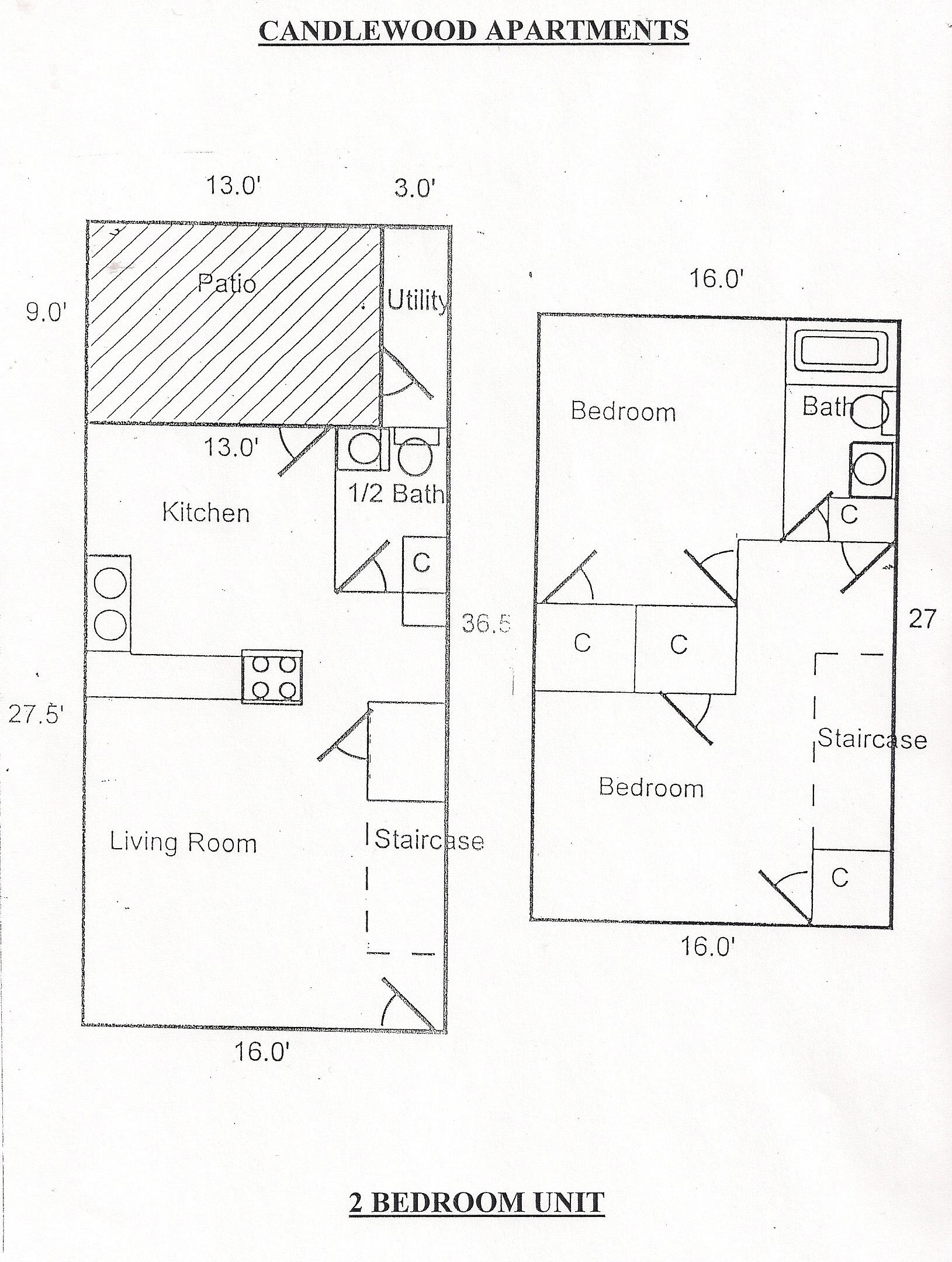 CW 2 BD floor plan